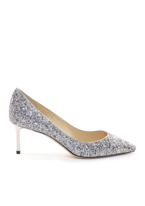 ROMY 60 Platinum Mix Painted Coarse Glitter Fabric Pointy Toe Pumps