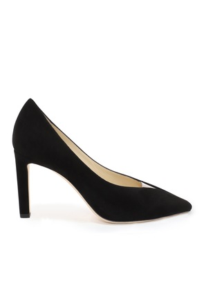 BAKER 85 Black Suede Pointed Toe Pumps with Plexi Insert