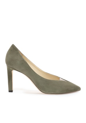 BAKER 85 Vine Suede Pointed Toe Pumps with Plexi Insert