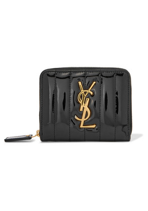 Saint Laurent - Vicky Quilted Patent-leather Wallet - Black