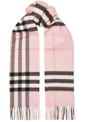 Burberry - Fringed Checked Cashmere-twill Scarf - Pink