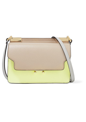 Marni - Trunk Micro Color-block Textured-leather Shoulder Bag - Taupe