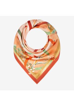 Bally Ribbon Print Carré Red, Women's silk twill scarf in multi-melrose