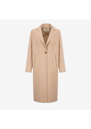 Bally Single Breasted Long Coat Beige, Women's wool coat in light beige