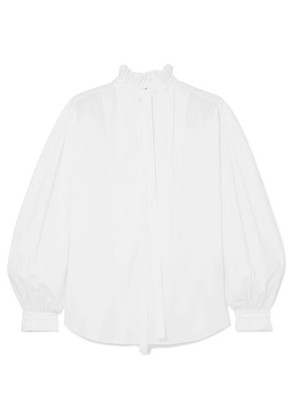 Burberry - Pussy-bow Pintucked Cotton-poplin Blouse - White