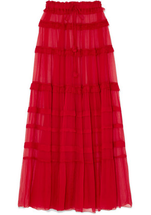 Lee Mathews - Eliza Tiered Silk-crepon Maxi Skirt - 0