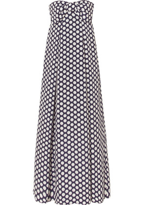 J.Crew - Bow-embellished Polka-dot Chiffon Maxi Dress - Navy