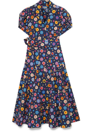 LHD - Glades Belted Floral-print Stretch-cotton Broadcloth Midi Dress - Navy