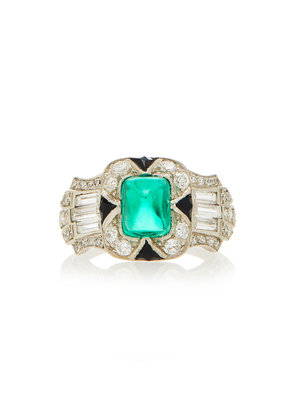 Vintage S Kirk & Son Art Deco Emerald And Diamond Ring