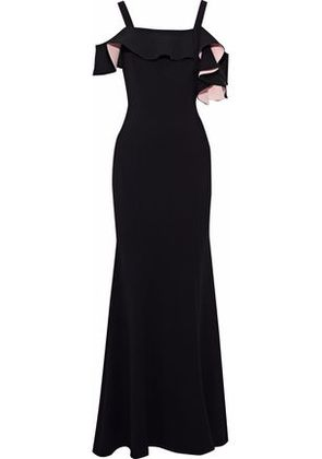 Badgley Mischka Woman Cold-shoulder Ruffled Cady Gown Black Size 4