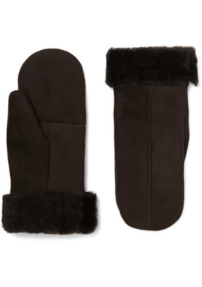 Dents - Inverness Shearling-lined Suede Mittens - Brown
