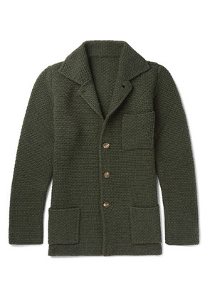 Anderson & Sheppard - Slim-fit Textured Wool And Cashmere-blend Cardigan - Green
