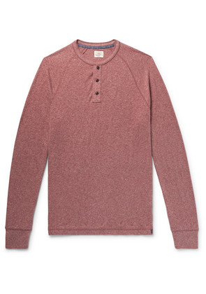 Faherty - Mélange Organic Cotton-blend Jersey Henley T-shirt - Brick