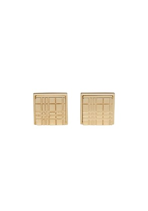 Burberry check-engraved cufflinks - Gold