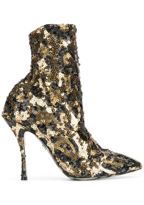 Dolce & Gabbana sequin ankle boots - Gold
