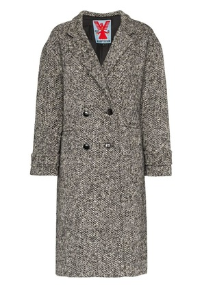 Adaptation double breasted tweed wool coat - Black