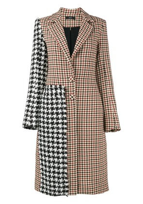 Ellery Contrast check coat - Brown