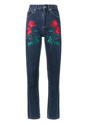 Adam Selman Rodeo rose embroidered jeans - Blue