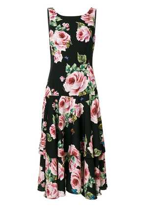 Dolce & Gabbana rose print midi dress - Black