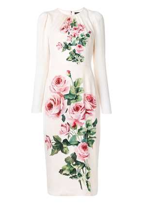Dolce & Gabbana ruched rose-print midi dress - Pink