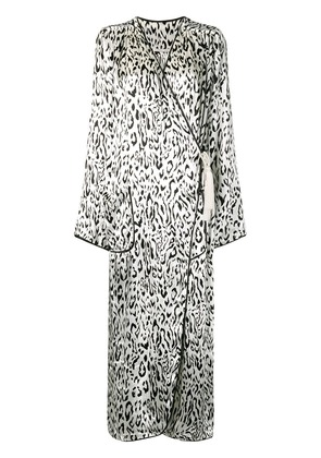 Alessandra Rich leopard wrap dress - White