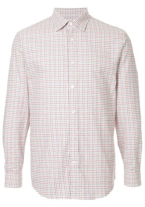 Gieves & Hawkes long sleeved checked shirt - Red