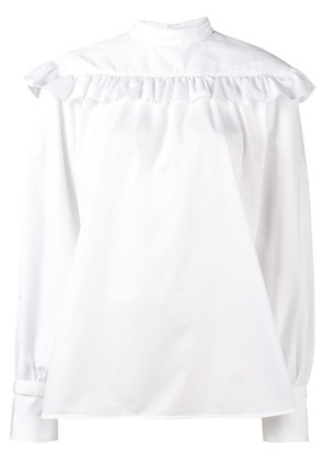 Helmut Lang ruffled long sleeve blouse - White