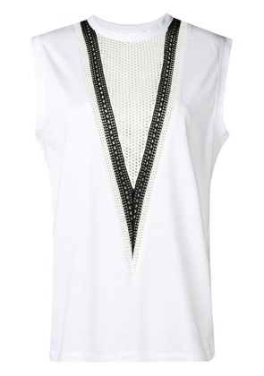 Helmut Lang open-knit panelled tank top - White
