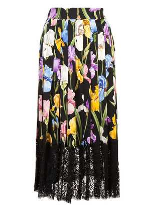 Dolce & Gabbana Iris print pleated skirt - Black