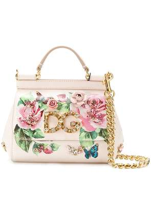 Dolce & Gabbana small Sicily rose print bag - Neutrals