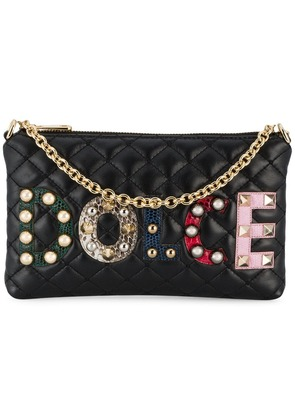 Dolce & Gabbana Appliqué Logo Quilted Bag - Black