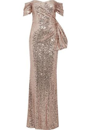 Badgley Mischka Woman Off-the-shoulder Knotted Sequined Tulle Gown Rose Gold Size 10