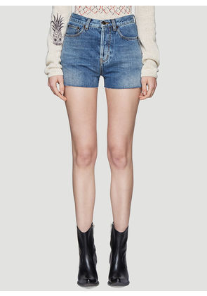 Saint Laurent Bandana Pocket Denim Shorts in Blue size 25