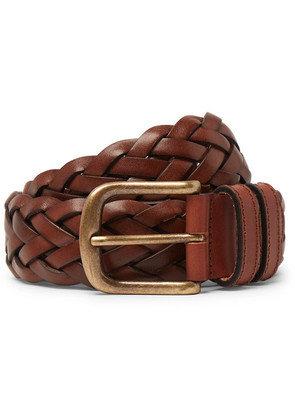 Anderson & Sheppard - 35mm Woven Leather Belt - Brown