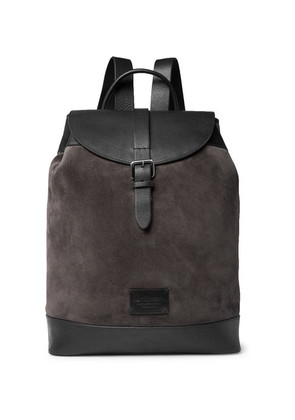 Anderson's - Suede And Full-grain Leather Backpack - Dark gray