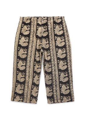 Beams Plus - Cropped Printed Cotton Trousers - Black