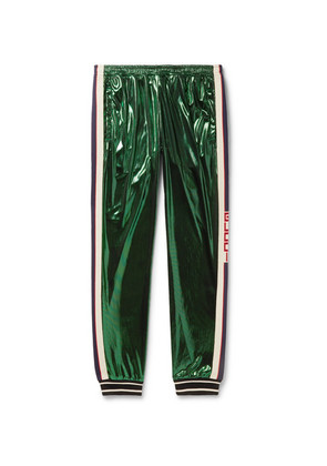 Gucci - Tapered Webbing-trimmed Coated-jersey Track Pants - Green
