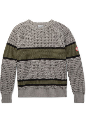 Cav Empt - Striped Waffle-knit Cotton Sweater - Gray