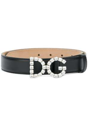 Dolce & Gabbana embellished logo buckle belt - Black
