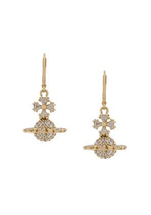Vivienne Westwood crystal logo earrings - Gold