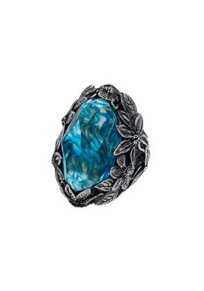 Lyly Erlandsson silver and blue Winter chunky silver ring