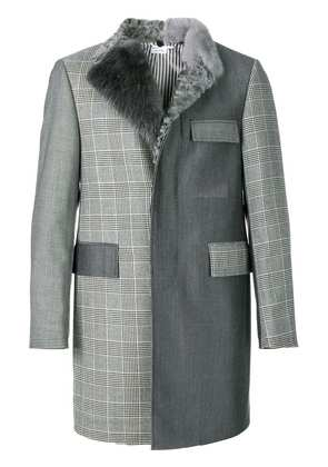 Thom Browne Fun-Mixed Fur Collar And Lapel Classic Chesterfield