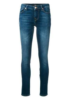 7 For All Mankind washed distressed skinny jeans - Blue