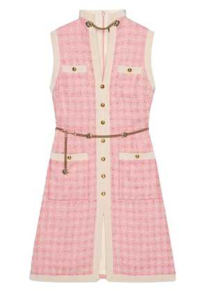 Gucci Short tweed dress with chain belt - Pink