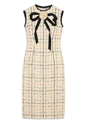 Gucci Tweed sheath dress with bow - Neutrals