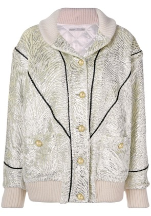Alessandra Rich front button bomber jacket - White