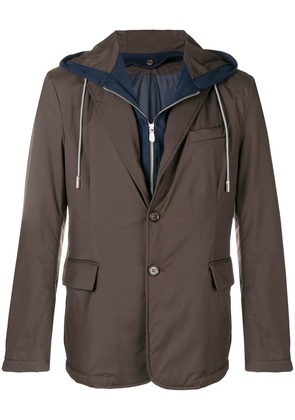 Eleventy layered single-breasted jacket - Brown