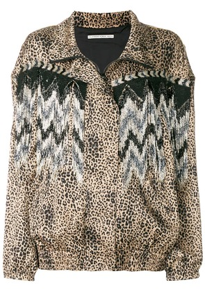 Alessandra Rich leopard print oversized jacket - Brown