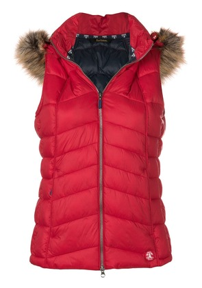 Barbour furry hood padded gilet - Red
