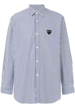 Comme Des Garçons Play striped heart logo shirt - Blue